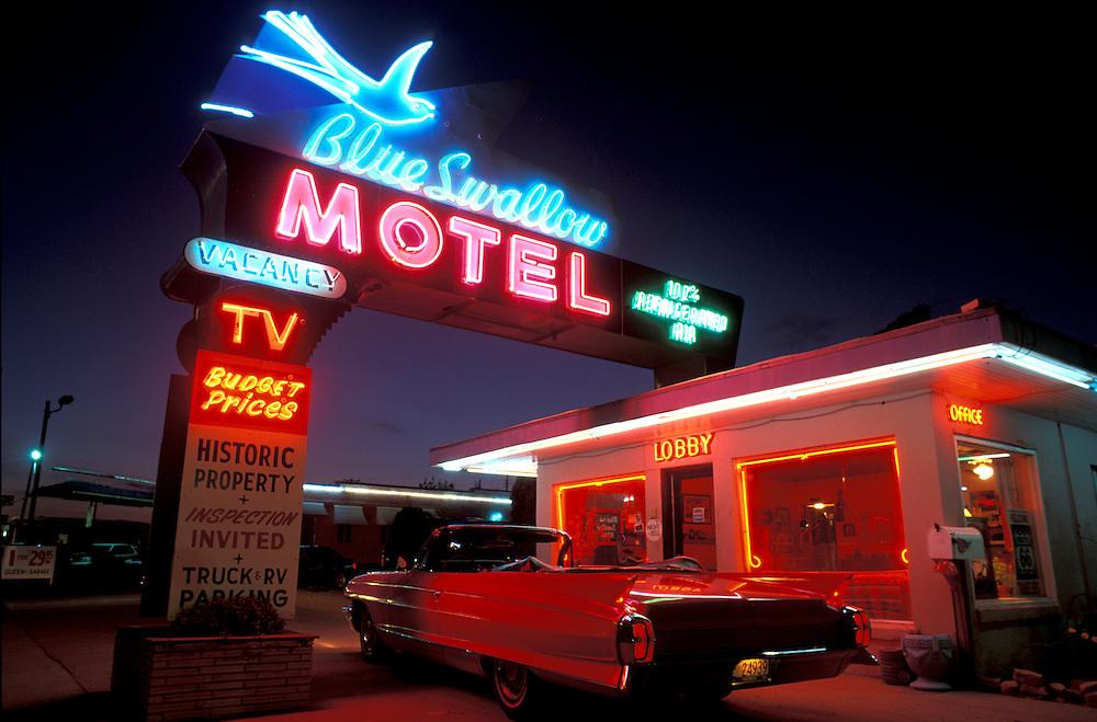 Blue Swallow Motel, Route 66, 1962 Cadillac Convertible, Tucumcari, New Mexico, USA