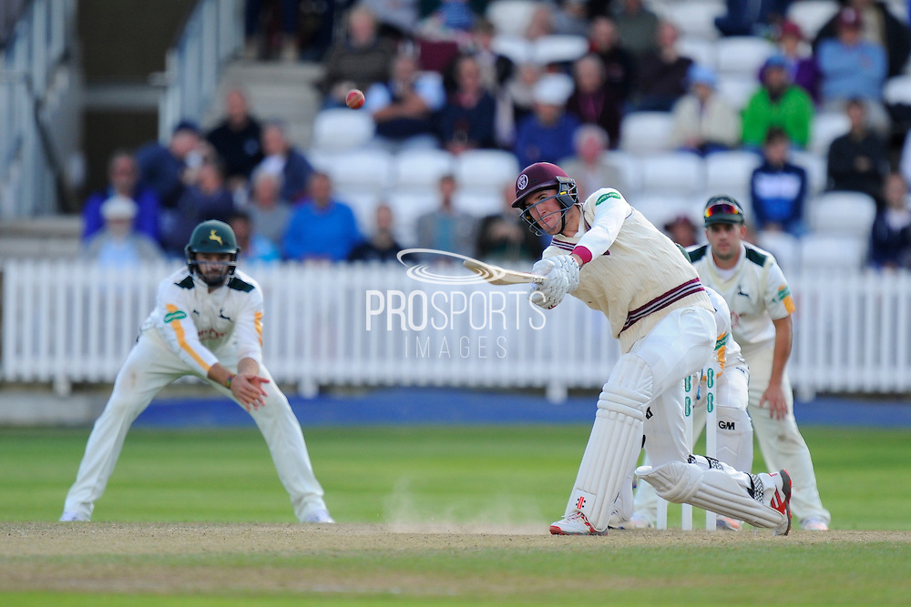 Craig Overton of Somerset hits the ball in the air and is caugh on the boundary by Imran Tahir of Nottinghamshire during the Specsavers County Champ Div 1 match between Somerset County Cricket Club and Nottinghamshire County Cricket Club at the Cooper Associates County Ground, Taunton, United Kingdom on 22 September 2016. Photo by Graham Hunt.