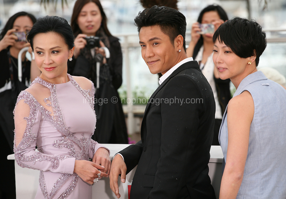 Actress Carina Lau, actor Kun Chen and director Flora Lau at the Bends film photocall at the Cannes Film Festival 18th May 2013