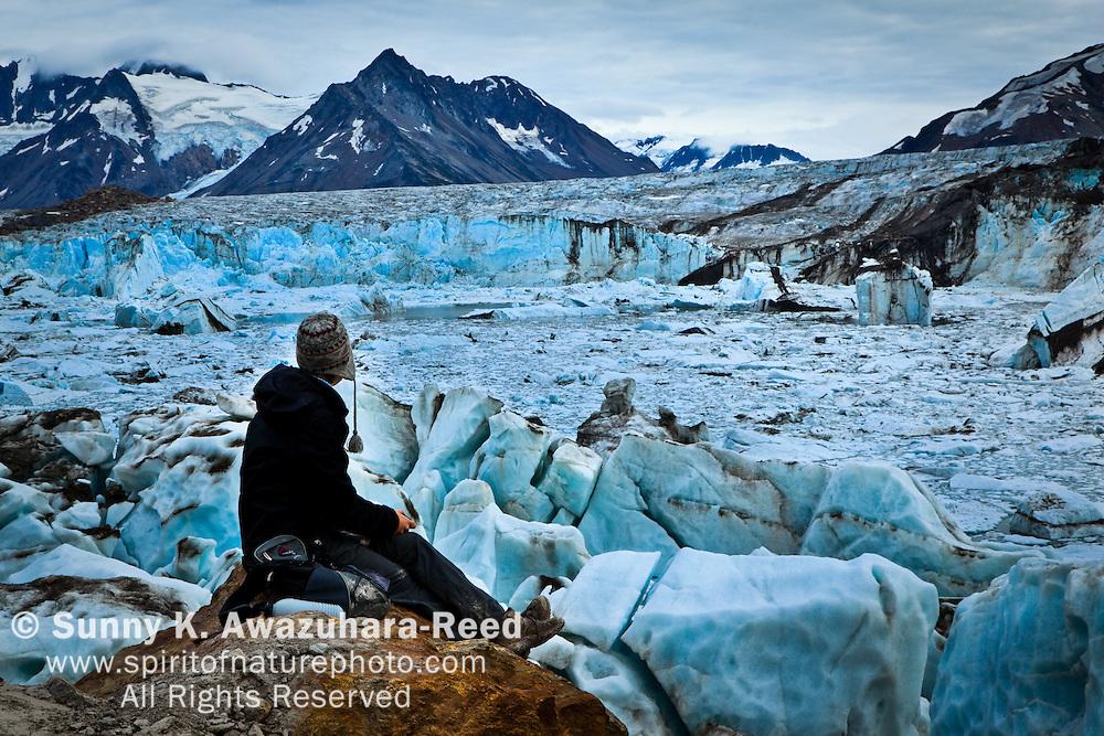 Hiker, Iceberg Lake and Bagley Icefield, Wrangell - St. Elias Park, Alaska