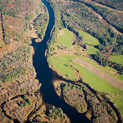 Comerford Dam on the Connecticut River in Monroe, New Hampshire and Barnet, Vermont.  Aerial.