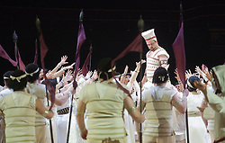 © Licensed to London News Pictures. 22/02/2012. London, England. Marc Heller as Radames. New production of Giuseppe Verdi's opera Aida staged in the round of the Royal Albert Hall with Indra Thomas as Aida, Mark Heller as Radames, Tiziana Carraro as Amneris, David Kempster as Amonasro and Stanislav Shvets as Ramfis. Photo credit: Bettina Strenske/LNP