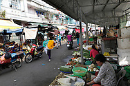 A market and street scene in the town of Sa Dec  along the Mekong River in Vietnam<br /> <br />  photo by Dennis Brack