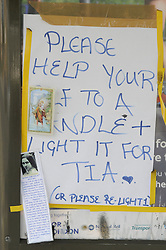 © Licensed to London News Pictures. 09/08/2012 .Messages on the bus stop near Castle Hill School and The Lindens.. Sixth day (09.08.2012) Tia Sharp has been missing..  12 years old Tia Sharp has been missing from the Lindens on The Fieldway Estate in New Addington,Croydon,Surrey since Friday last week. .Photo credit : Grant Falvey/LNP