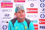 Australia coach Matthew Mott speaks during the India team press conference held at the Reliance Cricket Stadium in Vadodara,  ahead of the first ODI match between India and Australia on the 11th March 2018<br /> <br /> <br /> Photo by Vipin Pawar / BCCI / SPORTZPICS