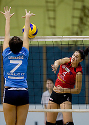 Lisa Mittermair vs Tea Lenarcic during volleyball match between Calcit Volleyball and A. Linz-Steg in Mevza league on October 23, 2010 at Sport Halli, Kamnik, Slovenia. (Photo By Matic Klansek Velej / Sportida.com)
