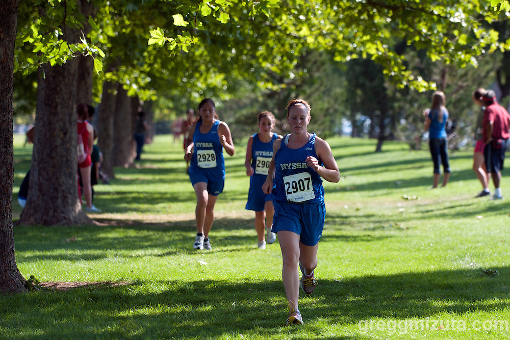 Nyssa senior Keri Beck during the Roger Curran Memorial Run girl's varsity 5k race at West Park in Nampa, ID on September 10, 2011. Beck finished in 23:49.18.