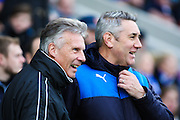 Walsall FC caretaker manager John Ward and Chesterfield FC caretaker manager Mark Smith during the The FA Cup match between Chesterfield and Walsall at the Proact stadium, Chesterfield, England on 5 December 2015. Photo by Aaron Lupton.