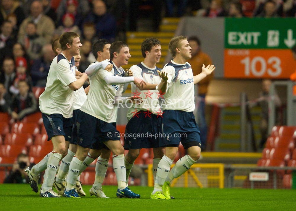 LIVERPOOL, ENGLAND - Friday, February 27, 2009: Bolton Wanderers' Daniel Ward celebrates scoring the opening goal against Liverpool during the FA Youth Cup Quarter Final at Anfield. (Photo by David Rawcliffe/Propaganda)