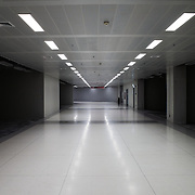A stark empty corridor in a newly constructed section in Suvarnabhumi Airport Terminal, Bangkok, Thailand.
