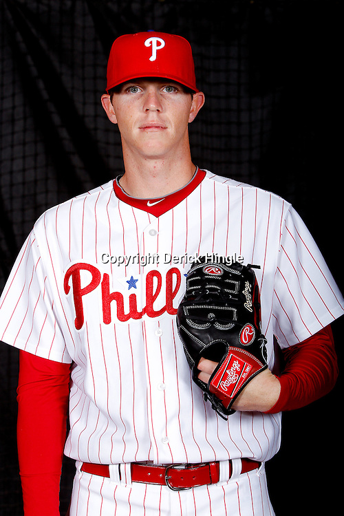 February 22, 2011; Clearwater, FL, USA; Philadelphia Phillies relief pitcher Justin De Fratus (72) poses during photo day at Bright House Networks Field. Mandatory Credit: Derick E. Hingle