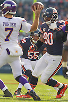 25 November 2012: Linebacker (55) Lance Briggs of the Chicago Bears in game action against the Minnesota Vikings during the first half of the Bears 28-10 victory over the Vikings in an NFL football game at Soldier Field in Chicago, IL.