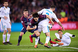March 6, 2018 - Paris, U.S. - CAVANI Edinson (PSG) vs Dani Carvajal (Real Madrid) / Raphael Varane (Real Madrid)  during the Champions League match Real Madrid at Paris Saint-Germain on March 6, 2018 in Paris, France. (Photo by JB Autissier/Panoramic/Icon Sportswire) ****NO AGENTS---NORTH AND SOUTH AMERICA SALES ONLY****NO AGENTS---NORTH AND SOUTH AMERICA SALES ONLY* (Credit Image: © Jb Autissier/Icon SMI via ZUMA Press)