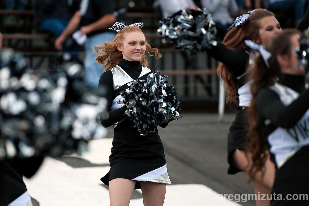 Vale cheer member TeiLee Hill during Vale's season opening 38-0 win over Parma on September 2, 2016 at Vale, Oregon.