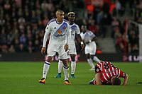 Football - 2016 / 2017 League Cup - Round 4: Southampton vs Sunderland<br /> <br /> Wahbi Khazri of Sunderland leaves Southampton's Sam McQueen in a heap on the floor after following through in the tackle at St Mary's Stadium Southampton <br /> <br /> COLORSPORT/SHAUN BOGGUST