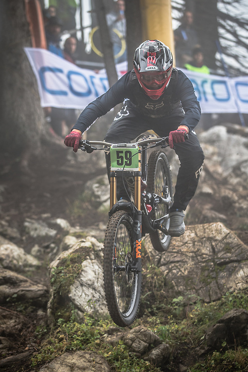 Cole Suetos (USA) during the downhill qualifying runs at the 2018 UCI MTB World Championships - Lenzerheide, Switzerland