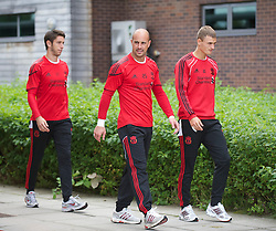 LIVERPOOL, ENGLAND - Wednesday, August 18, 2010: Liverpool's goalkeepers Pepe Reina (C), Brad Jones (L) and Martin Hansen (R) during a training session at Melwood ahead of the UEFA Europa League Play-Off 1st Leg match against Trabzonspor A.S. (Pic by: David Rawcliffe/Propaganda)