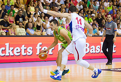 Jure Balazic of Slovenia vs Rasko Katic of Serbia during friendly match between National teams of Slovenia and Serbia for Eurobasket 2013 on August 3, 2013 in Arena Zlatorog, Celje, Slovenia. Slovenia derated Serbia 67-52. (Photo by Vid Ponikvar / Sportida.com)