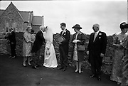 05/07/1967<br /> 07/05/1967<br /> 05 July 1967<br /> Wedding of George Walsh, eldest son of Mr and Ms Kevin G. Walsh, St. Rita's, Firhouse Road, Templeogue, Co. Dublin and Miss Arlene McMahon, elder daughter of Det. Chief Supt. Philip McMahon, Head of Special Branch, Dublin Castle and Mrs McMahon of Lisieux, Templeville Park, Templeogue, Co. Dublin who were married at the Carmelite Church, Terenure College, Dublin. An Taoiseach Mr Jack Lynch and Mrs Lynch; Mr Liam Cosgrave, leader Fine Gael and Mrs Cosgrave were among the 120 guests. Rev Fr H.E. Wright, O. Carm., Moate, officiated at the ceremony. The reception was held at Downshire Hotel, Blessington, Co. Wicklow.  Bride and Groom being congratulateed outside the church.