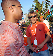 "ATLANTIC CITY, NJ - JUNE 27: Actors Cuba Gooding Jr. (L) and Stephen Dorf pose for photographers during the Maxim Magazine Presents ""Fantasy Island"" at the Borgata Hotel Casino and Spa June 27, 2004 in Atlantic City, New Jersey. The event consisted of two music stages and four unique themed areas, providing a wide array of entertainment for guests; South Beach Venice Beach, Stuffland, and The Oasis. (Photo by William Thomas Cain/Getty Images)"