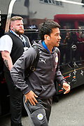Shinji Okazaki (20) of Leicester City gets off the team bus on arrival for the Premier League match between Bournemouth and Leicester City at the Vitality Stadium, Bournemouth, England on 30 September 2017. Photo by Graham Hunt.