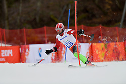 Andrzej SZCZESNY competing in the Alpine Skiing Super Combined Slalom at the 2014 Sochi Winter Paralympic Games, Russia