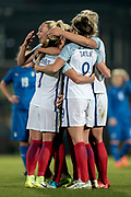 The England Ladies celebrate opening the scoring. A lob by Jodie Taylor (England) (Arsenal) sees England Ladies take the lead. The goal means the home team lead 1-0 during the Women's International Friendly match between England Ladies and Italy Women at Vale Park, Burslem, England on 7 April 2017. Photo by Mark P Doherty.