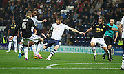 Joe Garner strikes during the Sky Bet Championship match between Preston North End and Bolton Wanderers at Deepdale, Preston, England on 31 October 2015. Photo by Pete Burns.