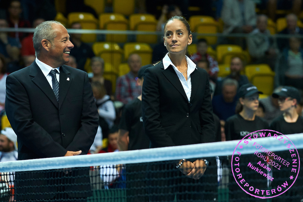 (L) Chair Umpire Alexander Juge of France and (R) Chair Umpire Marijana Veljovic of Serbia while opening ceremony during Davis Cup Tie World Group Play-off Poland v Slovakia at Gdynia Arena Hall in Gdynia, Poland.<br /> <br /> Poland, Gdynia, September 18, 2015<br /> <br /> Picture also available in RAW (NEF) or TIFF format on special request.<br /> <br /> For editorial use only. Any commercial or promotional use requires permission.<br /> <br /> Adam Nurkiewicz declares that he has no rights to the image of people at the photographs of his authorship.<br /> <br /> Mandatory credit:<br /> Photo by &copy; Adam Nurkiewicz / Mediasport