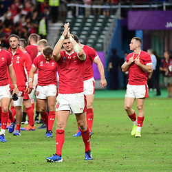 Dan BIGGAR of Wales salutes the fans following the Rugby World Cup 2019 Quarter Final match between Wales and France on October 20, 2019 in Oita, Japan. (Photo by Dave Winter/Icon Sport) - Oita Stadium - Oita (Japon)