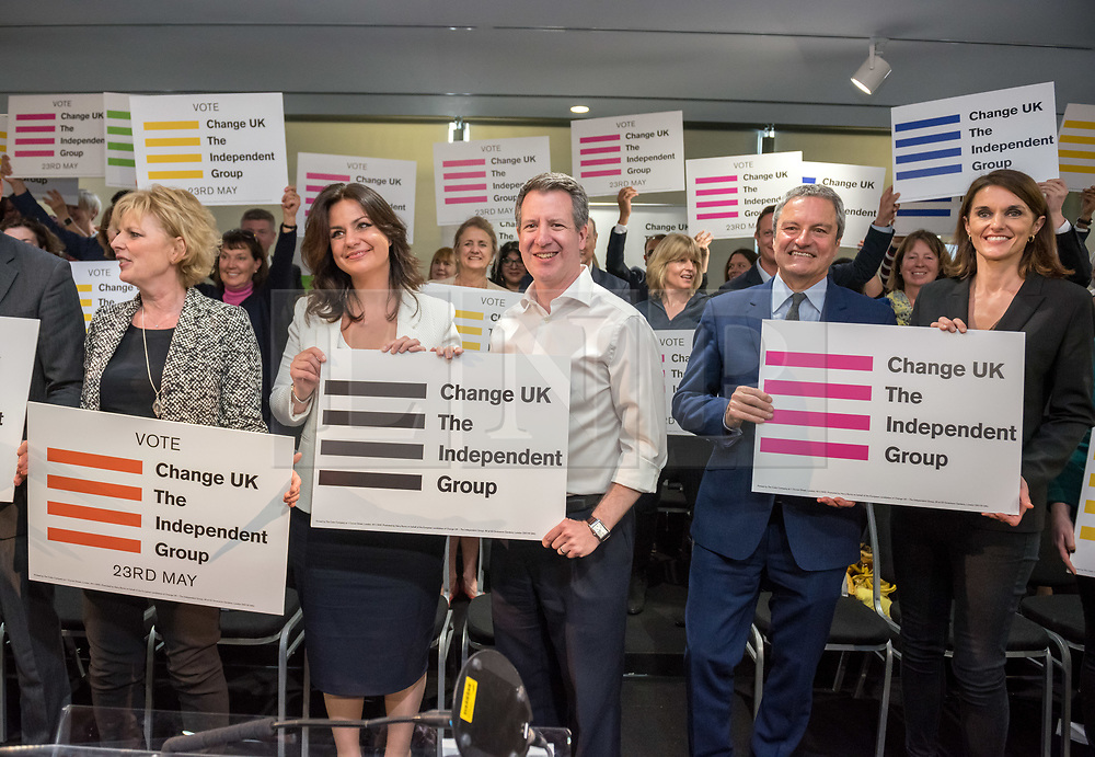 © Licensed to London News Pictures. 23/04/2019. Bristol, UK. CHUKA UMUNNA, ANNA SOUBRY, HEIDI ALLEN, CHRIS LESLIE, at Change UK – The Independent Group holding their European election campaign launch at We The Curious in Bristol's Millennium Square. Photo credit: Simon Chapman/LNP
