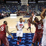 Ben Moore, (right), SMU, shoots while defended by Quenton DeCosey, Temple, during the Temple Vs SMU Semi Final game at the American Athletic Conference Men's College Basketball Championships 2015 at the XL Center, Hartford, Connecticut, USA. 14th March 2015. Photo Tim Clayton