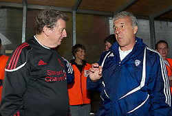 ALTACH, AUSTRIA - Saturday, July 17, 2010: Liverpool's manager Roy Hodgson chats with Al-Hilal Al Saudi FC manager Eric Gerets before the Reds' first preseason match of the 2010/2011 season at the Cashpoint Arena. (Pic by David Rawcliffe/Propaganda)