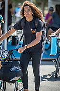 Women Junior #138 (CHEVALLIER Laetitia) FRA arriving on race day at the 2018 UCI BMX World Championships in Baku, Azerbaijan.