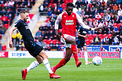 Semi Ajayi of Rotherham United gets the ball past Lewis Wing of Middlesbrough - Mandatory by-line: Ryan Crockett/JMP - 05/05/2019 - FOOTBALL - Aesseal New York Stadium - Rotherham, England - Rotherham United v Middlesbrough - Sky Bet Championship