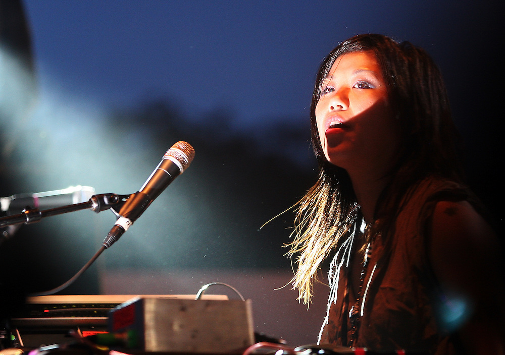 CHICAGO - JULY 17:  Nancy Whang of LCD Soundsystem performs onstage during the 2010 Pitchfork Music Festival at Union Park on July 17, 2010 in Chicago, Illinois.  (Photo by Roger Kisby/Getty Images)