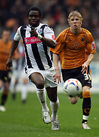 Photo: Rich Eaton.<br /> <br /> Wolverhampton Wanderers v West Bromwich Albion. Coca Cola Championship. Play off Semi Final, 1st Leg. 13/05/2007. West Broms Sam Sodje left outpaces Wolves Andy Keogh to the ball