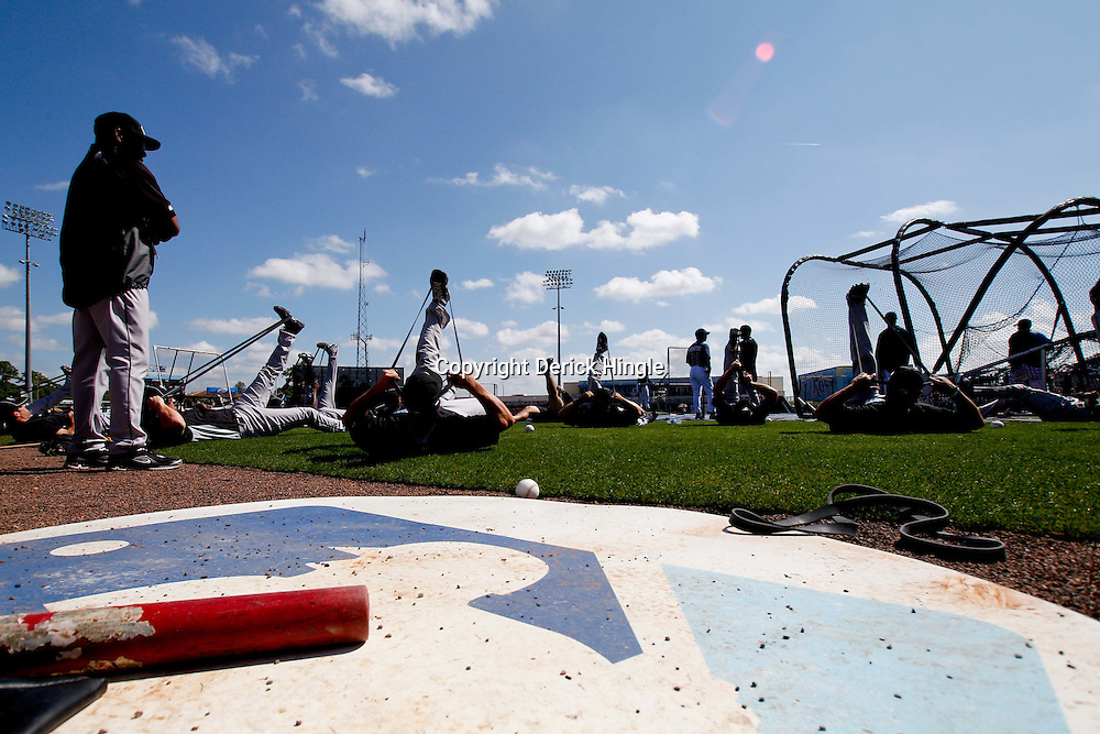 March 8, 2011; Port Charlotte, FL, USA; Toronto Blue Jays players stretch  before a spring training exhibition game against the Tampa Bay Rays at Charlotte Sports Park.  Mandatory Credit: Derick E. Hingle-US PRESSWIRE
