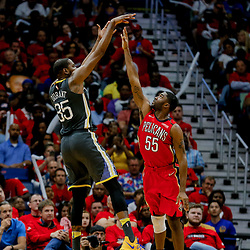 May 6, 2018; New Orleans, LA, USA; Golden State Warriors forward Kevin Durant (35) shoots over New Orleans Pelicans forward E'Twaun Moore (55) during the third quarter in game four of the second round of the 2018 NBA Playoffs at the Smoothie King Center. The Warriors defeated the Pelicans 118-92. Mandatory Credit: Derick E. Hingle-USA TODAY Sports