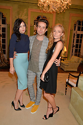 Left to right, DAISY LOWE, NICK GRIMSHAW and CLARA PAGET  at a party hosed by the US Ambassador to the UK Matthew Barzun, his wife Brooke Barzun and editor of UK Vogue Alexandra Shulman in association with J Crew to celebrate London Fashion Week held at Winfield House, Regent's Park, London on 16th September 2014.