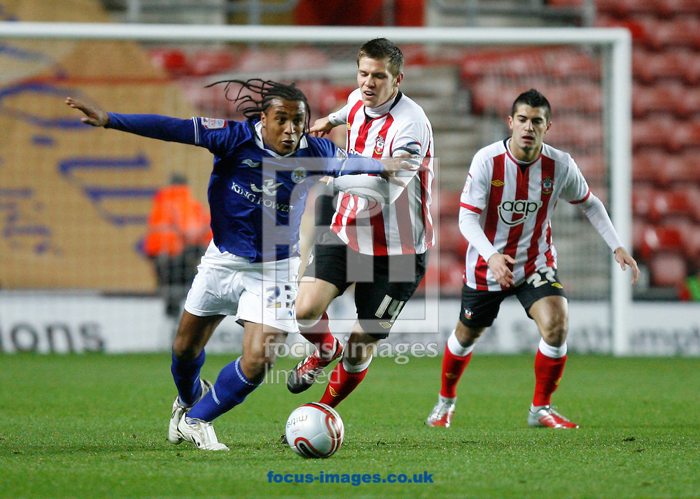 Picture by Daniel Chesterton/Focus Images Ltd. 07966 018899.23/01/12.Neil Danns of Leicester and Dean Hammond of Southampton during the Npower Championship match at St Mary's stadium, Southampton.