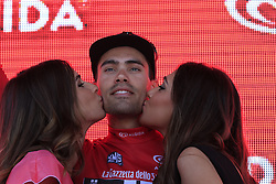 Tom Dumoulin (NED) Team Giant-Alpecin also wears the Maglia Rossa after winning his home stage, Stage 1 of the 2016 Giro d'Italia, an individual time trial of 9.8km around Apeldoorn, The Nethrerlands. 6th May 2016.<br /> Picture: Eoin Clarke | Newsfile<br /> <br /> <br /> All photos usage must carry mandatory copyright credit (&copy; Newsfile | Eoin Clarke)
