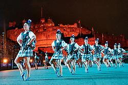 Edinburgh, Scotland, UK. 1 August, 2019. Preview opening night of the 2019 Royal Edinburgh Military Tattoo, performed on the esplanade at Edinburgh Castle. This is the Tattoo's 69th year and it runs from 2-24 August. Pictured The Tattoo Dance Company
