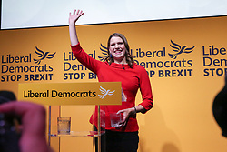 © Licensed to London News Pictures. 22/07/2019. London, UK. JO SWINSON waves after been elected as the leader of the Liberal Democrats.<br /> JO SWINSON is elected as the new leader of the Liberal Democrats. JO SWINSON, MP for East Dunbartonshire, won the leadership election receiving 47,997 votes. Photo credit: Dinendra Haria/LNP
