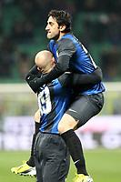 """Esultanza di Diego Milito Inter dopo il gol.goal celebration.Milano 10/02/2013 Stadio """"San Siro"""".Football Calcio Serie A 2012/13.Inter v Chievo Verona.Foto Insidefoto Paolo Nucci."""