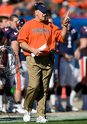 Virginia head coach Al Groh on the sidelines during the Gator Bowl.  The Texas Tech Red Raiders defeated the Virginia Cavaliers 31-28 in the 2008 Konica Menolta Gator Bowl held at the Jacksonville Municipal Stadium in Jacksonville, FL on January 1, 2008.