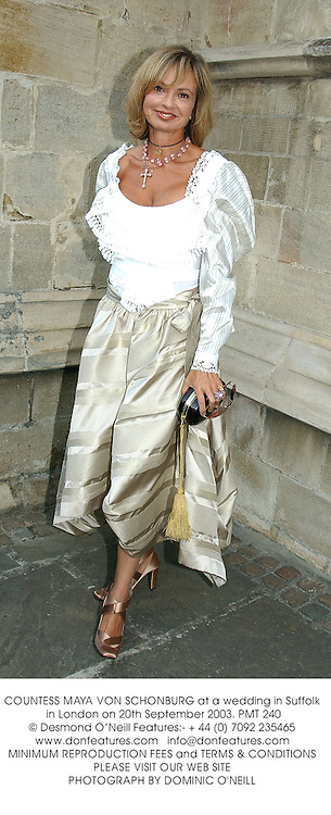 COUNTESS MAYA VON SCHONBURG at a wedding in Suffolk in London on 20th September 2003.PMT 240