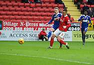 Patrick Bauer of Charlton Athletic cannot stop Freddy Sears of Ipswich Town scoring his side's 2nd goal to make it 0-2 during the Sky Bet Championship match at The Valley, London<br /> Picture by Alan Stanford/Focus Images Ltd +44 7915 056117<br /> 28/11/2015