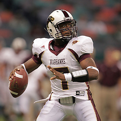 20 September 2008: Louisiana-Monroe quarterback Kinsmon Lancaster (7) prepares to throw during a Conference USA match up between the University of Louisiana Monroe and Tulane at the Louisiana Superdome in New Orleans, LA.