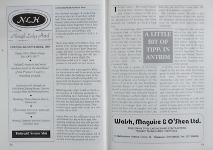All Ireland Senior Hurling Championship Final,.03.09.1989, 09.03.1989, 3rd September 1989, .Antrim v Tipperary, .03091989AISHCF,.Tipperary 4-24, Antrim 3-9,..Nenagh Lodge Hotel, Tipperary, .Walsh Maguire and O'Shea Limited,